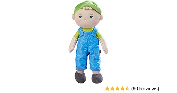 """Embroidered Face HABA Snug Up Til 10/"""" Soft Boy Doll with Blond Hair"""
