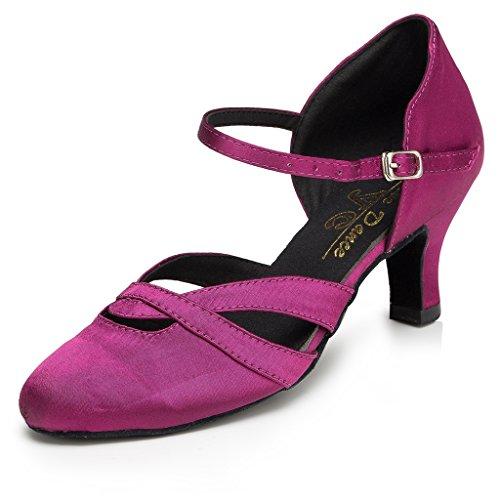 Minitoo Chaussures de danse latine en satin violet et à petit talon pour femme - Pointure 40 - violet - violet,