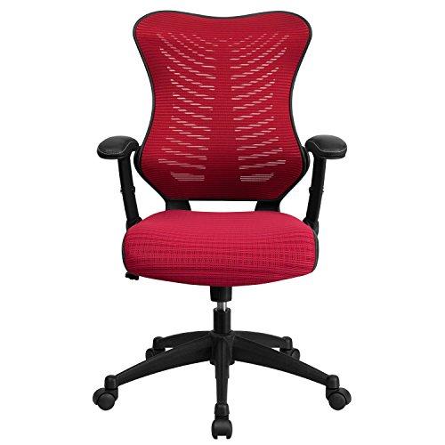 Flash Furniture High Back Designer Burgundy Mesh Executive Swivel Chair with Adjustable Arms