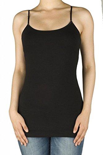 UPC 616450004682, Women Active Basic Built In Inner Bra Extra Long Spaghetti Cami Adjustable Black Small
