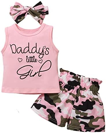 KIHONI Toddler Baby Girls Clothes Sleeveless Tank Top+ Shorts with Headband Summer Outfit Set