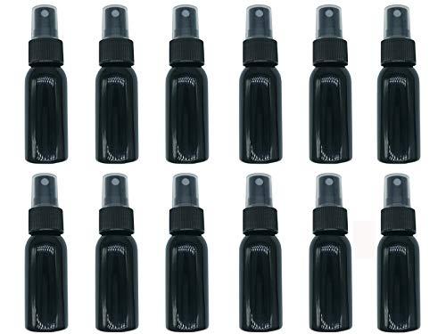 HOSL 1 Ounce (30ML) Black Refillable Fine Mist Spray Bottle Perfume Sprayer Bottle Cosmetic Atomizers PET Spray Bottles Pump Pack of 12