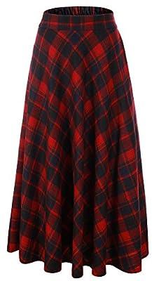 Vocni Women Flared Plaid A-Line Winter Wool Blend Midi Long Skirt