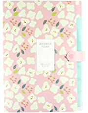 Expanding File Folders 8 Pockets, Floral According Document Folder Organizer Letter A4 Paper Size,Expandable File Folder for School and Office(Pink)