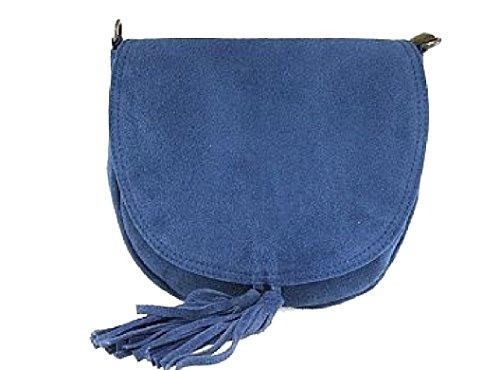 Bottega Tracolla Blu Carele Italy Scamosciata Donna Jeans In Borsa A Pelle Vera Bc1124 Made 1IxIprRwq