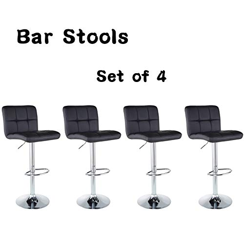 (Bar Stools Barstools Set of 4 Kitchen Stools Height Adjustable PU Leather Swivel Stools Bar Chairs Black)