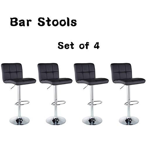 Bar Stools Barstools Set of 4 Kitchen Stools Height Adjustable PU Leather Swivel Stools Bar Chairs Black (Stools Chair Bar)