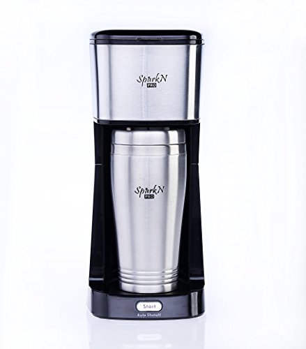 Sale!! Sparkn Pro Single Serve Coffee Maker, 650W, One Cup Personal Filter Coffee Machine with 14oz ...