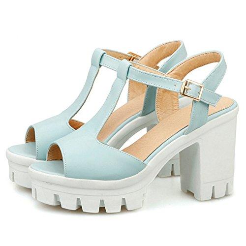 COOLCEPT Mujer Moda Correa En T Sandalias Peep Toe Slingback Plataforma Tacon Ancho Zapatos Azul