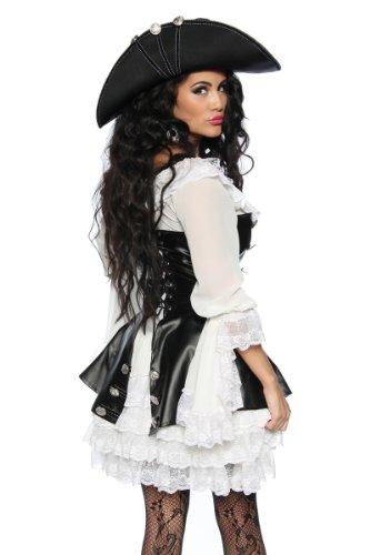 Robe pour le carnaval ou pour les soirées à thème pirates noir/blanc déguisement de 4 pièces