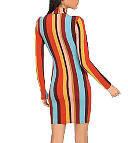 Donna accessori Collo Aderente Maniche Multicolore Corto Abito Elegante Vestito Alto A Lunghe Esclusi Mywy Con qx7vSAXwq