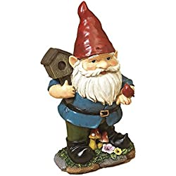 "11.5"" Darling Little Gnome Garden Figurines Each Holding Gardening Tools ~ Resin (Holding Birdhouse w Red Bird)"