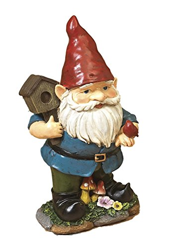 11.5'' Darling Little Gnome Garden Figurines Each Holding Gardening Tools ~ Resin (Holding Birdhouse w Red Bird) by Gerson