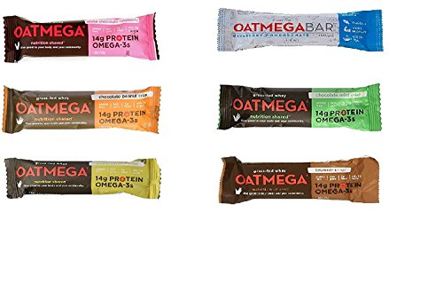 Oatmega Nutrition Bars Variety 12 Pack, 6 Different Flavors, Pack of 12 ( 2 bars of each ), Clear