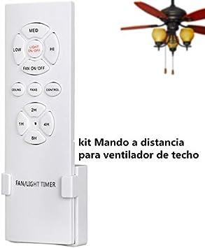 Hezbjiti Mando a Control Remoto para Ventilador de Techo, Control inalambrico y de luz, RF, WiFi, 3 velocidades y 4 temporizadores, Eficiencia energetica CLAR E, Encendido/Apagado: Amazon.es: Hogar
