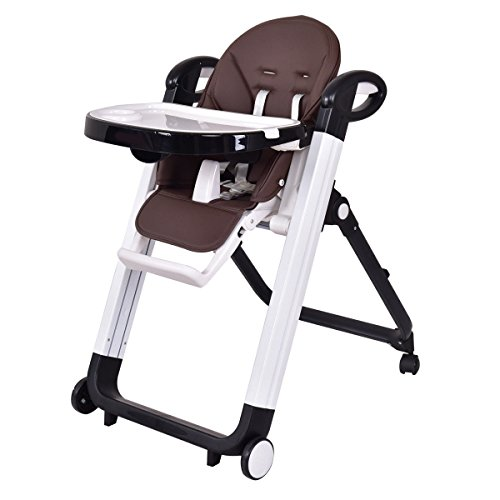 High Chair No Wheels (Costzon Baby High Chair, Folding Infant Feeding Booster with Adjustable Height & Recline Positions (Coffee))