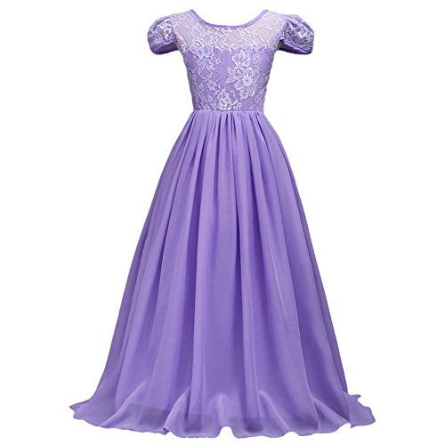 Flower Girls Junior Bridesmaid Long Chiffon Lace Wedding Dress Pageant Graduation Teens Ceremony Dance Maxi Gown 7-16 Lavender Lilac (Poofy Princess Dress)