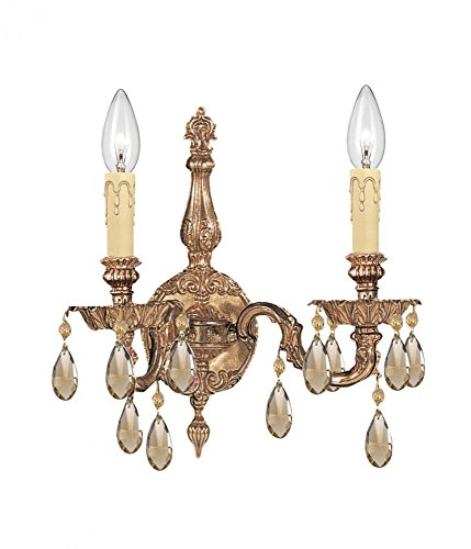 Olde Brass / Golden Teak Hand Polished Cortland 2 Light Cast Brass Candle Style Wall Sconce With Majestic Wood Polished - Two Cortland Cast Light
