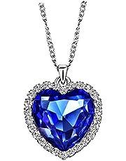 قلادة مجوهرات من الكريستال الازرق على شكل قلب الحب من نيوجلوري، قلادة قلب المحيط من كريستال التايتنك، قلادة لهدية النساء 18+2 بوصة