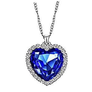 NEOGLORY Blue Crystals Heart Love Shaped Necklaces Jewelry, Heart of The Ocean Necklace from Titanic Crystal Pendant for…