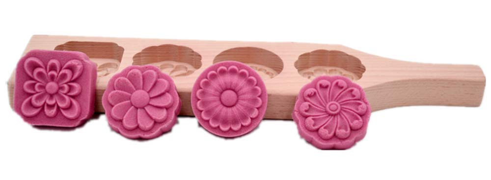 Hewnda China Mooncake Mold - Wooden Cake Mold for Moon Cakes, Springerle, Cookies, Soap (4 holes)