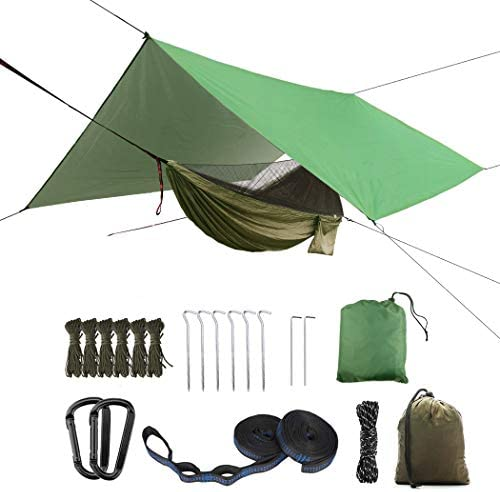 Update to Oversized Rain Fly Camping Hammock Set,Single Double Hammock,Mosquito net,Insect net,Rainfly,high Strength Parachute Fabric Hammock Army Green Heavy Rain Fly Outdoor, Hiking, Courtyard