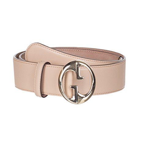 Gucci Women's Light Brown Leather Interlocking GG Buckle Belt, 32, Brown by Gucci