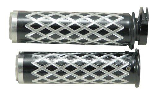 Yana Shiki A4036BF Black Diamond Cut Style Straight Design Grip with Flat End (Straight Billet End Cap)