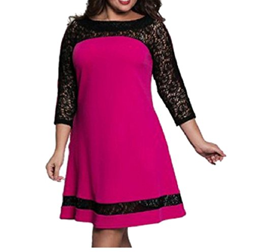 Rose Hollow Business Red Women Plus Dress Size Lace Party Stitch Coolred Graceful Sexy PWRfqAxxwC