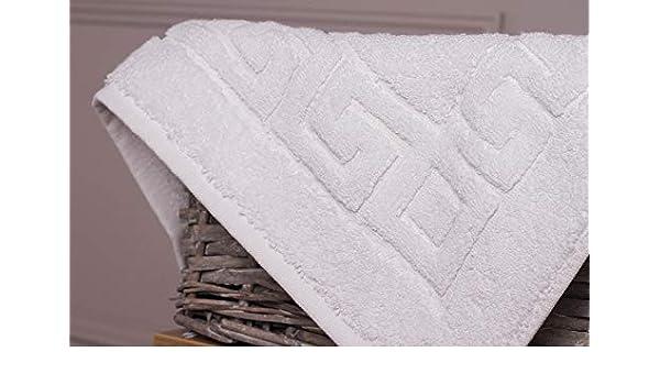 Secado r/ápido Westlane Linens Alfombrillas de ba/ño griegas de algod/ón egipcio blanco 750gsm patr/ón clave Lavable a m/áquina blanco, 5 piezas