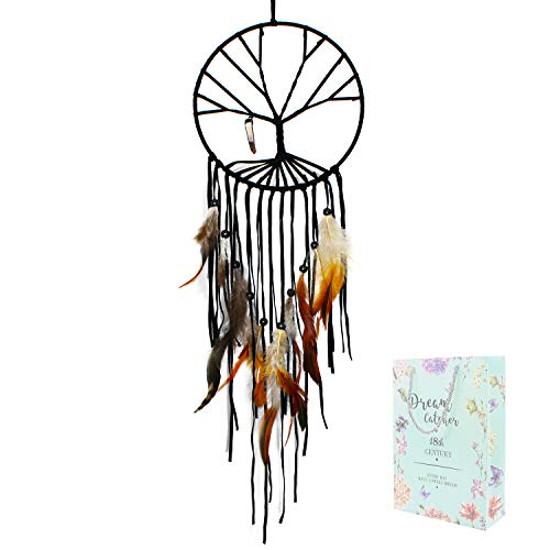 SIKEMAY The Tree of Life Dream Catcher - Handmade Exquisite Feather Beaded Large Dream Catchers for Kids/Cars/Bedroom - Indians Traditional Art Wall Hanging Home Decoration -