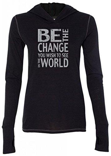 Ladies BE THE CHANGE Tri-Blend Hoodie, Large Solid Black ()
