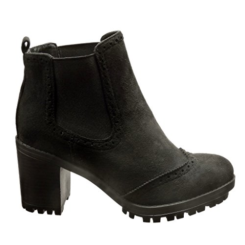 9f881ba21d8e2d ... Angkorly - Chaussure Mode Bottine chelsea boots rangers femme perforée  Talon haut bloc 7 CM ...