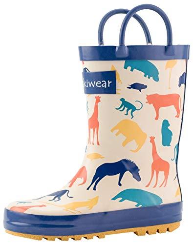 OAKI Kids Rubber Rain Boots with Easy-On Handles, Animal Kingdom, 3Y US Big - Handle Animal