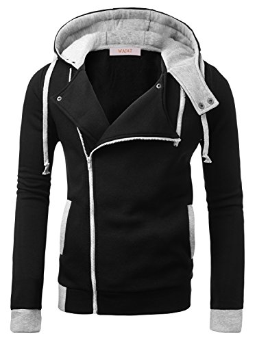 WAJAT Men's Casual Knitted Coat Oblique Zipper Hoodie Jacket Black XL