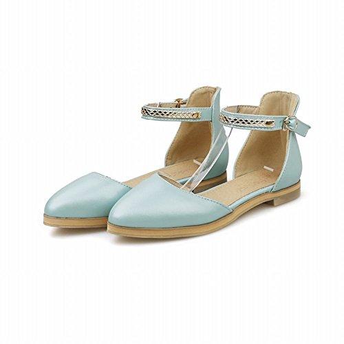 Zool Chic Dames Gesp Zoete Casual Enkelband Leuke Comfort Flats Sandalen Blauw