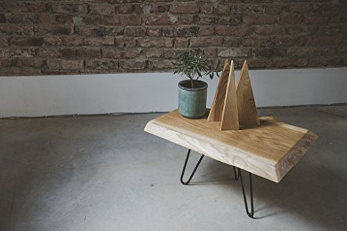 Coffee Oak Table. Steel legs with Live Edge Top from Oak. End Table from Reclaimed Wood - Perfect for a Living Room. Rustic Country Furniture - Modern Home Decor