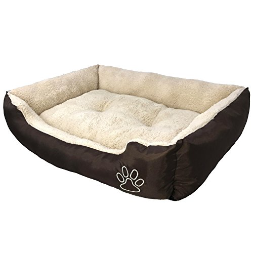 AikoPets Textiles Reversible Rectangle Pet Bed with Dog Paw Printing Pet Bed Mats Products Dog Bedding Cat Supplies Small Size (S:23.6''x18.9''x6.7'') by AikoPets