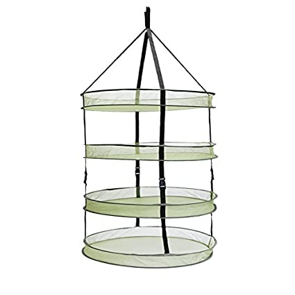 "3"" Thickest Best Quantity Steel Rings Foldable Heavy Duty Hanging Dryer Rack,2Feet Diameter 4 Layer Collapsible Mesh Hydroponic Drying Rack Net w/ Clips&Storage Carrying Bag"