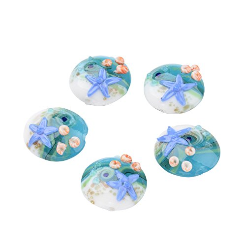 PH PandaHall 1 Box (About 12pcs) 20mm Cornflower Blue Flat Round with Starfish Ocean Style Beads Handmade Lampwork Beads for Jewelry Making Hole: -