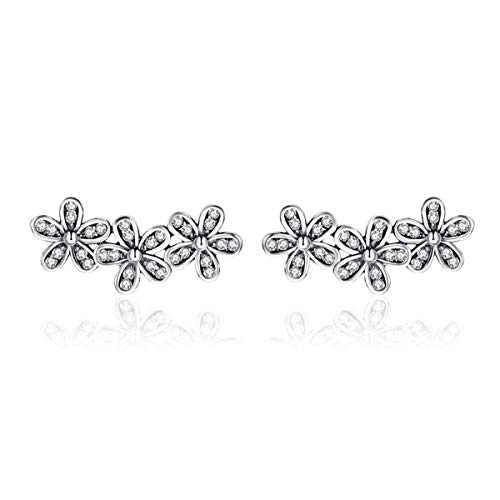 BAMOER New Arrival 925 Sterling Silver Clip on Cuff Earrings Cute Antique Black Daisy Flowers Crawler Earrings Ear Crawler for Women Teen Girls Thanksgiving Christmas Day Gifts (Daisy Flowers)