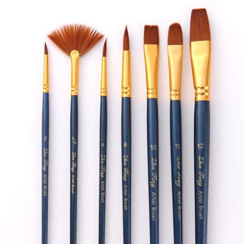 JIOLK 画材筆 水彩画筆 ペイントブラシ 7本セット ナイロン 画材筆ブラシ 油絵筆 装飾 モデル 人形 ネイルアート 絵具用 油絵用 ブルー