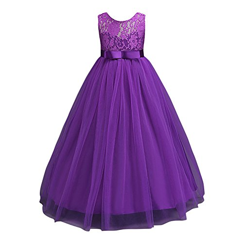 Glamulice Girls Lace Bridesmaid Dress Long Wedding Tulle Party Gown Age 3-14Y  9-10Y  (Halloween Ball Gowns)