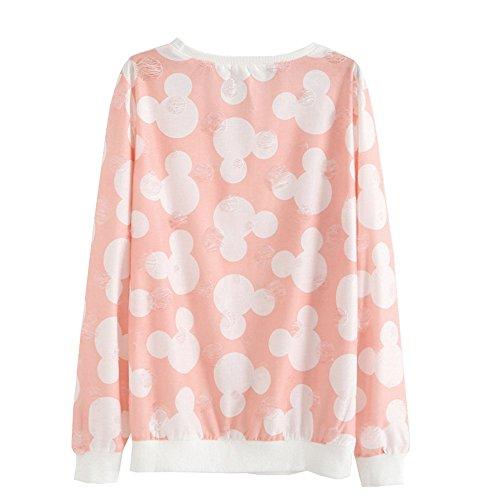 DaBag Felpe da Donna Ragazza Maglia Stampa Animalier Maglione Azteco Sweater Manica Lunga Top T-shirt a Righe Pullover s36