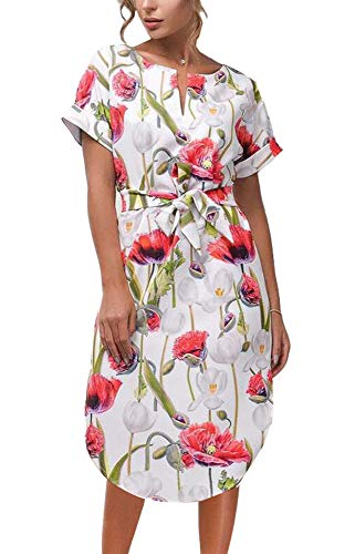 62705ca53aa LitBud Womens Dresses Summer for Women Ladies Short Sleeve Casual Vintage Office  Party Holiday Belted Shift