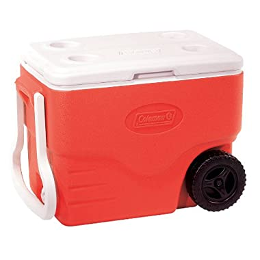 Coleman 40-Quart Wheeled Cooler, Red
