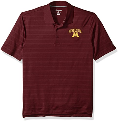 NCAA Minnesota Golden Gophers Champion Men's Textured Solid Polo, Large, Maroon (Golf Minnesota Gophers)