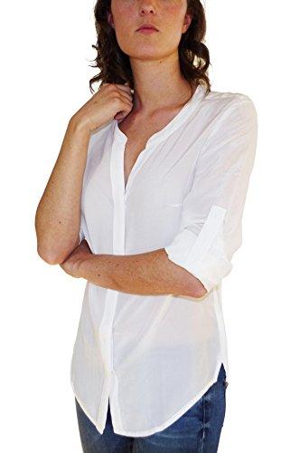 Donna Gear Camicetta 100 Seta Blusa Posh Bianco RTAqg