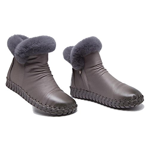 Handmade Lazy Ankle Flat Soles Pregnant GRAY 39 Cotton Warm Boots Leather Heel Plush Female Soft Thicker Casual Shoes d8UqS7d