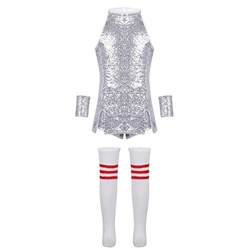 ranrann Kids Girls Sparkle Mini Dress Sequins Jazz Dance Costume Hip Hop Street Dance Skirt Silver 8-10 ()